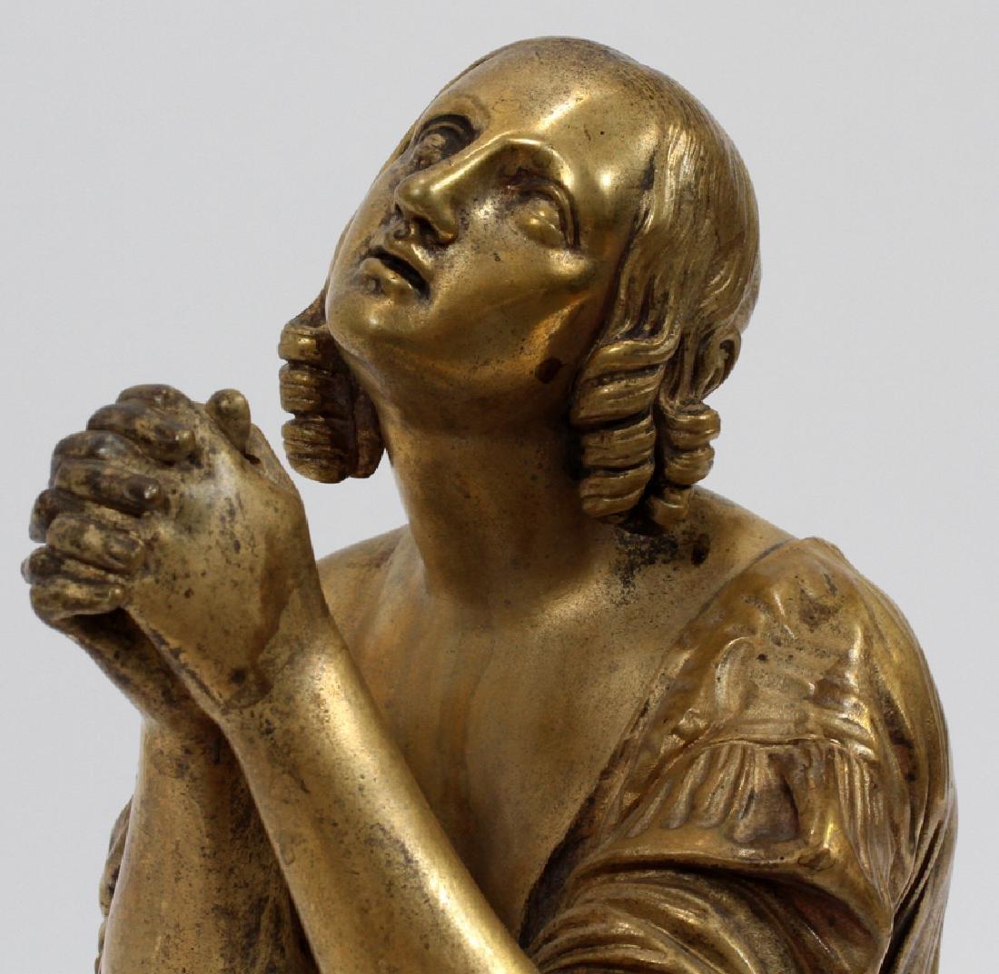 BRONZE SCULPTURE, KNEELING WOMAN PRAYING - 2