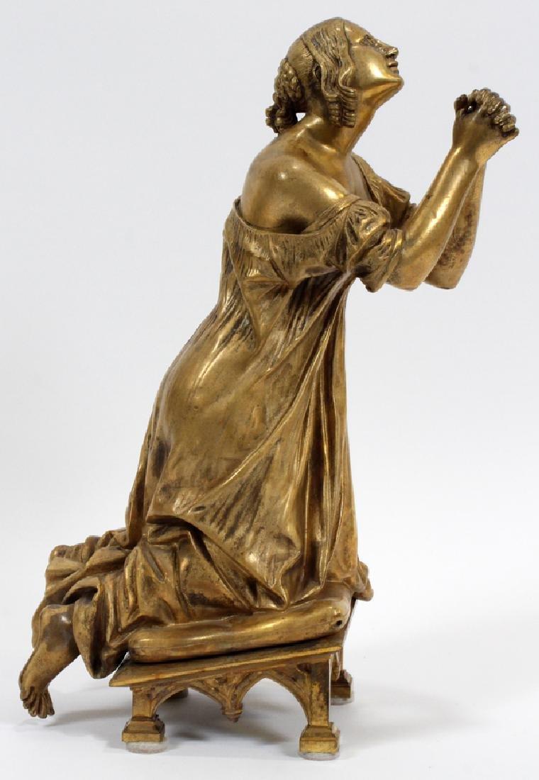 BRONZE SCULPTURE, KNEELING WOMAN PRAYING - 3