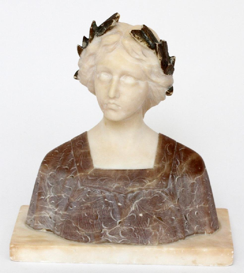 ITALIAN CARVED ALABASTER & MARBLE BUST, 19TH C.