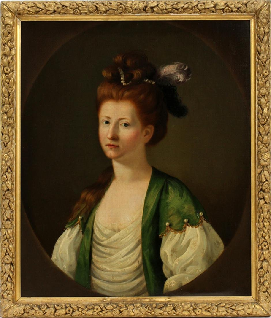 OIL ON CANVAS PORTRAIT OF AN ELEGANT WOMAN