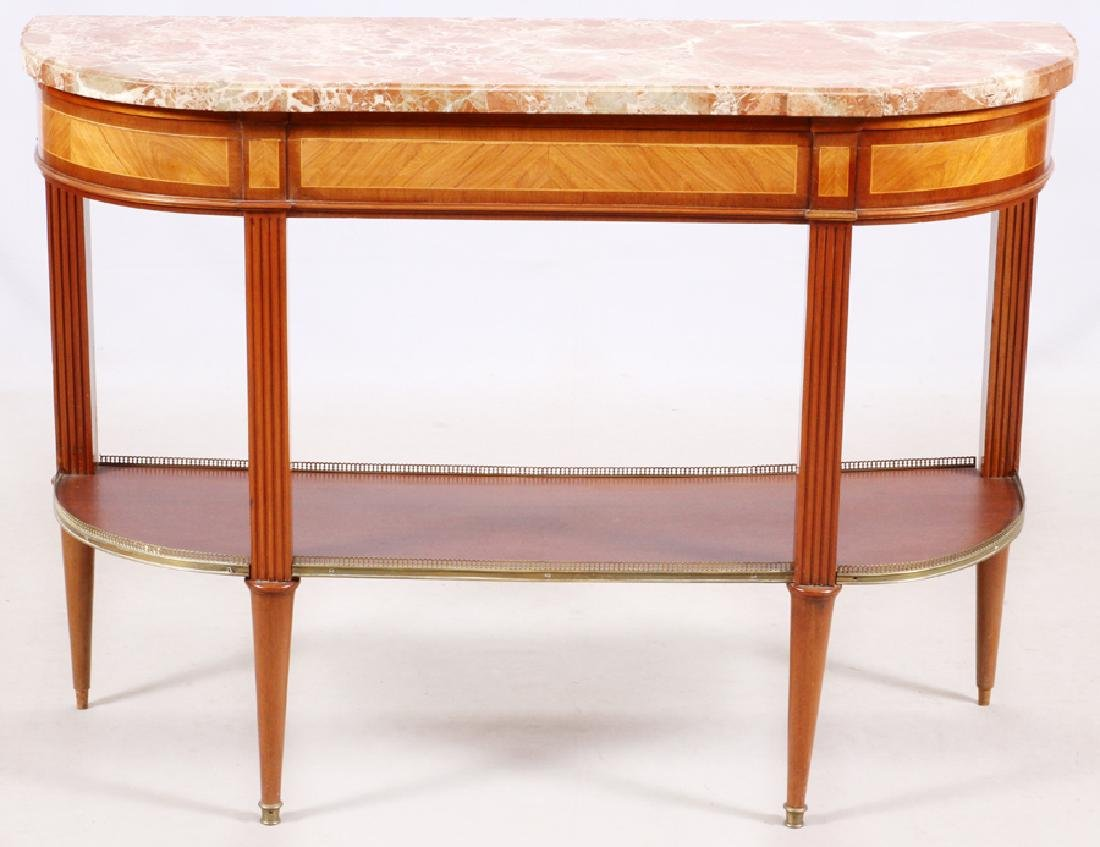 FRENCH LOUIS XVI STYLE MAHOGANY MARBLE TOP CONSOLE