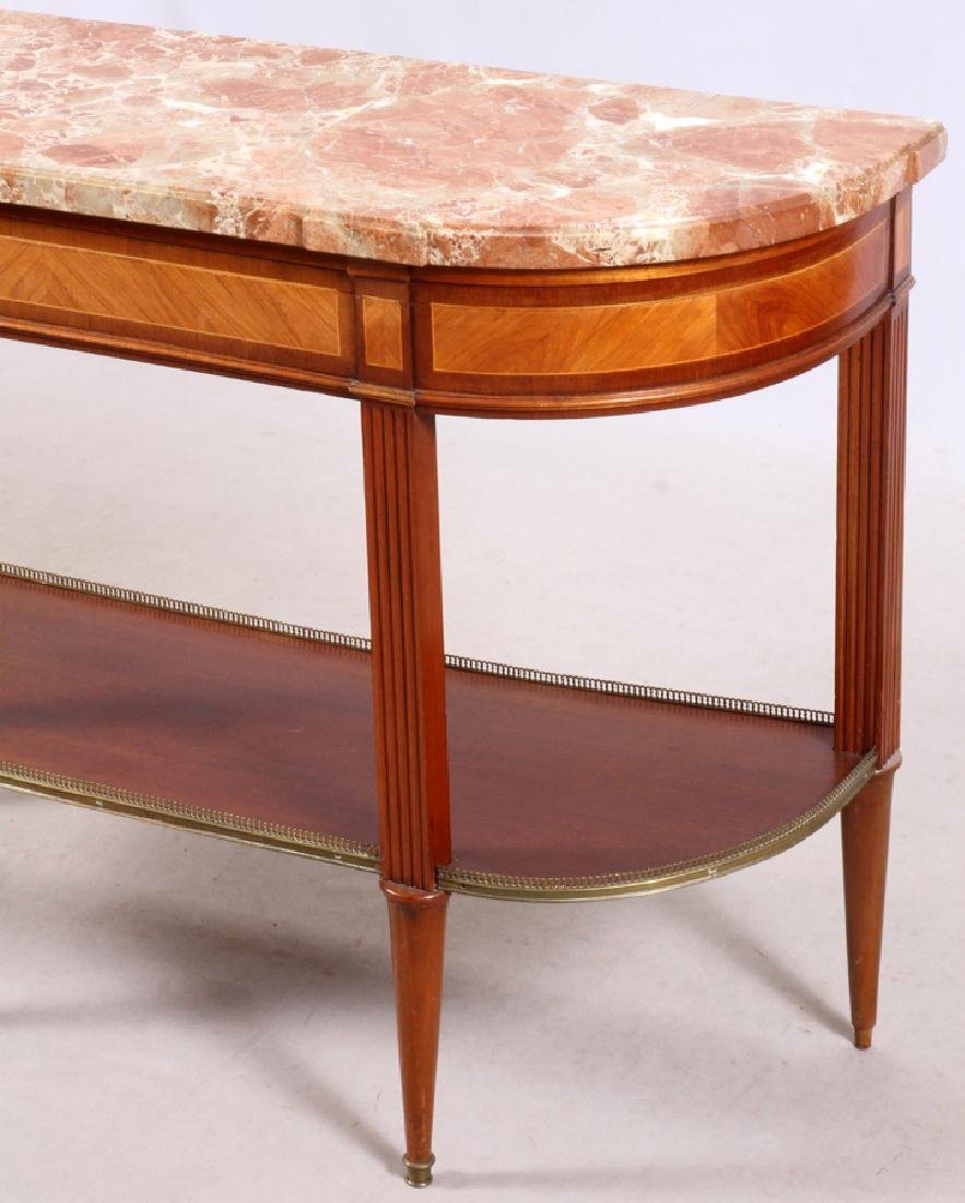 FRENCH LOUIS XVI STYLE MAHOGANY MARBLE TOP CONSOLE - 2