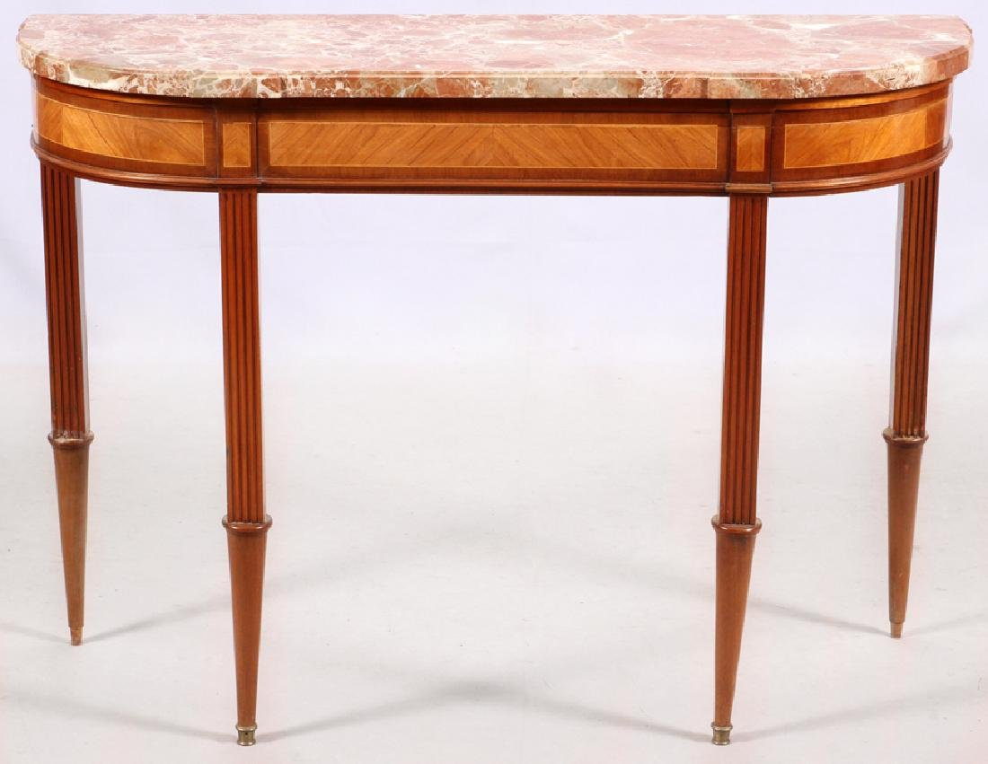 FRENCH LOUIS XVI STYLE MAHOGANY MARBLE TOP CONSOLE - 3