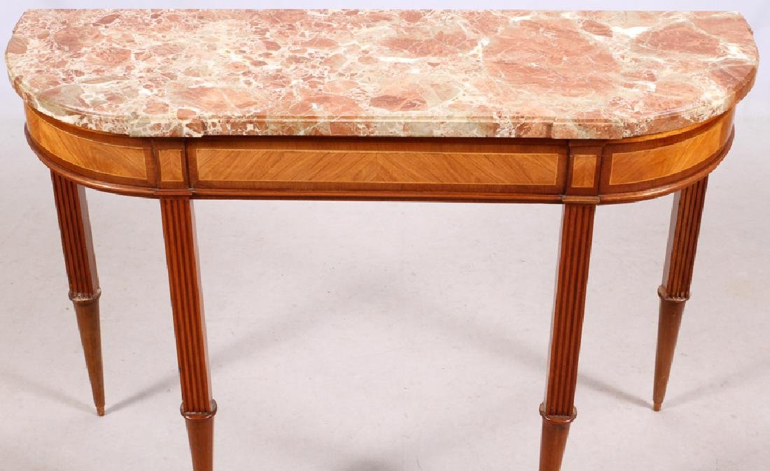 FRENCH LOUIS XVI STYLE MAHOGANY MARBLE TOP CONSOLE - 4