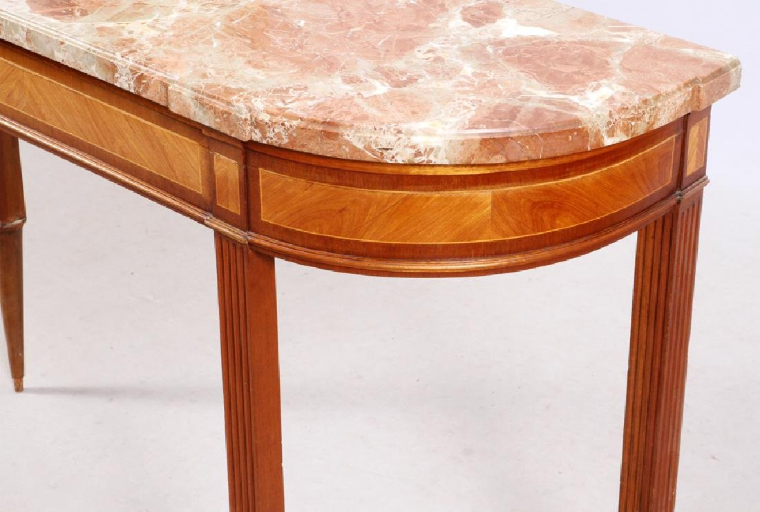 FRENCH LOUIS XVI STYLE MAHOGANY MARBLE TOP CONSOLE - 5