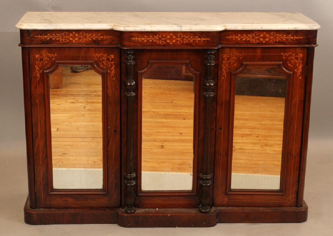 CARVED ROSEWOOD AND MARBLE CONSOLE, 19TH C.