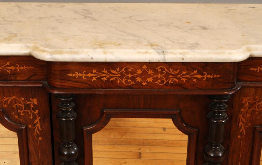 CARVED ROSEWOOD AND MARBLE CONSOLE, 19TH C. - 2