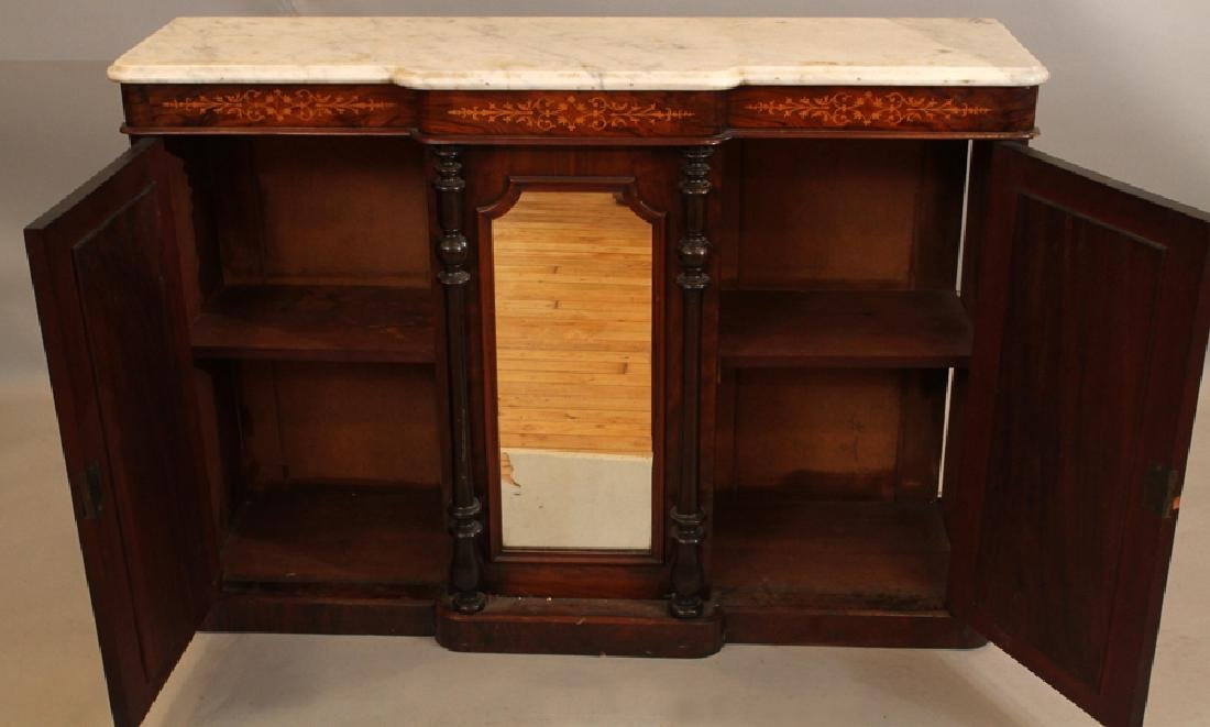 CARVED ROSEWOOD AND MARBLE CONSOLE, 19TH C. - 3