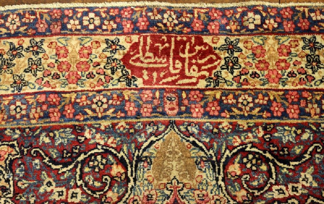 SIGNED PERSIAN ANTIQUE LAVAR KERMAN WOOL RUG - 4