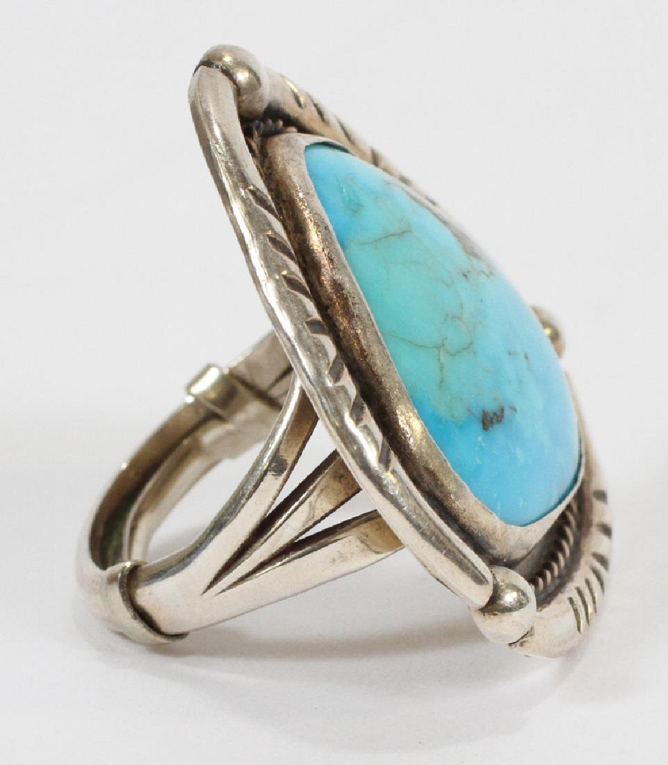 SOUTHWEST STERLING SILVER & TURQUOISE RING - 2