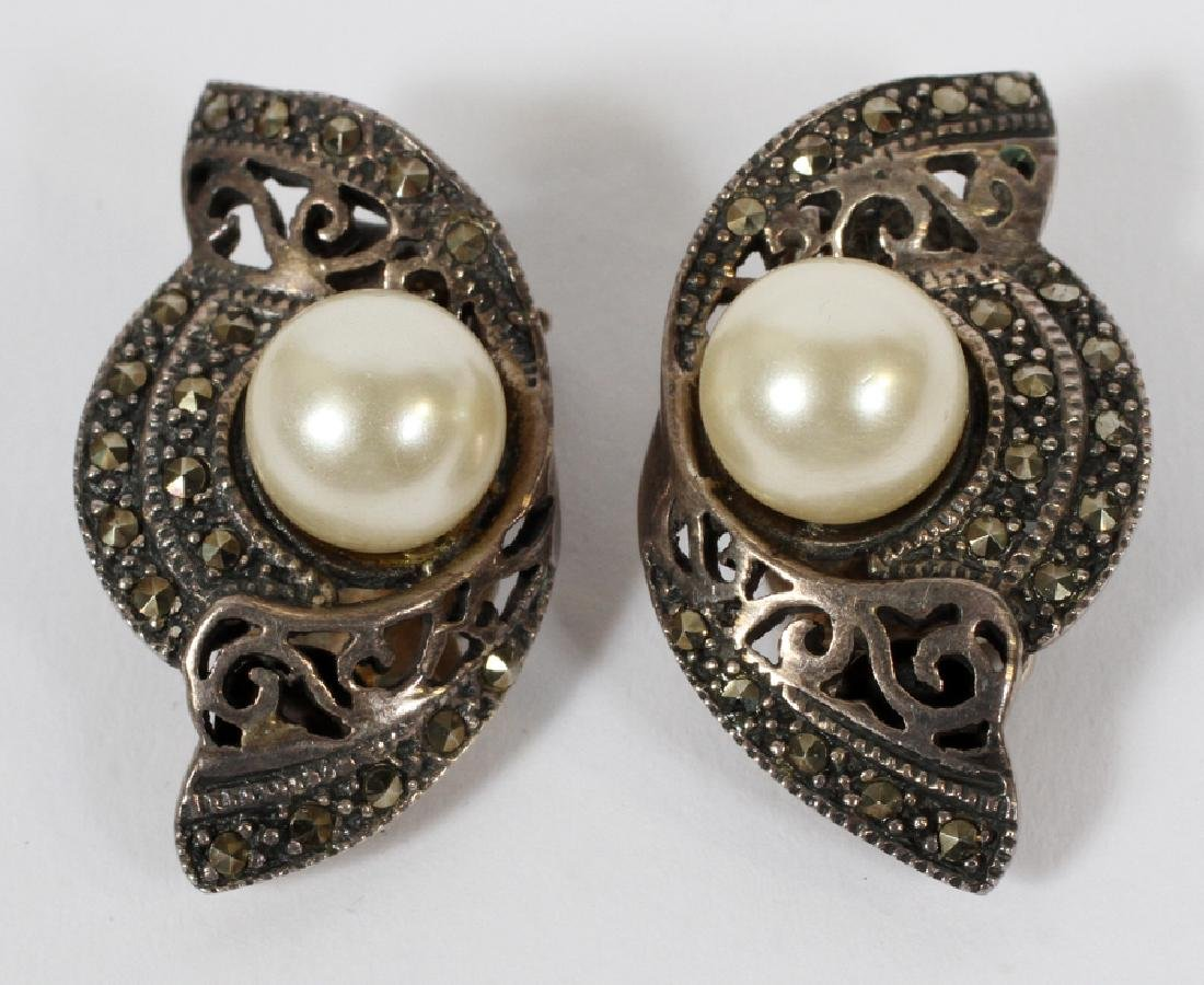 STERLING SILVER & MARCASITE EARRINGS & RING - 2