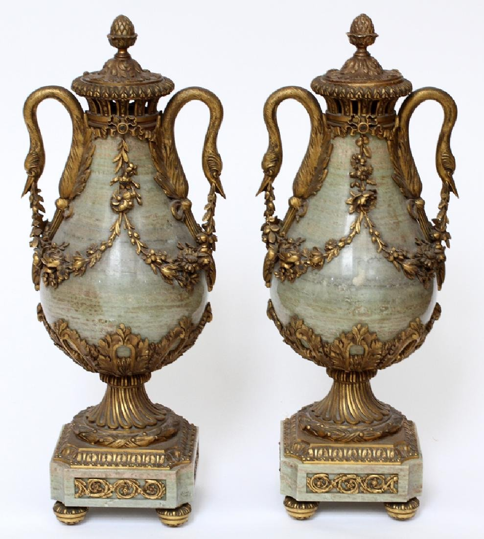 FRENCH, BRONZE & MARBLE URNS, 19TH C, PAIR
