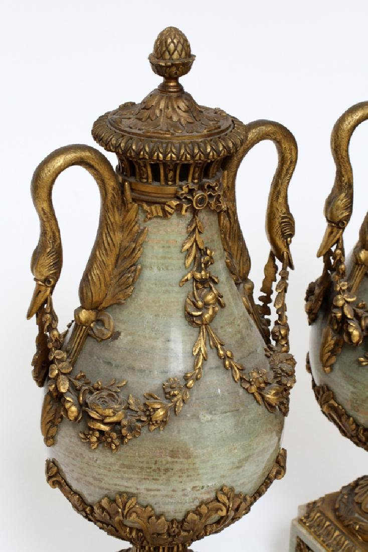 FRENCH, BRONZE & MARBLE URNS, 19TH C, PAIR - 2