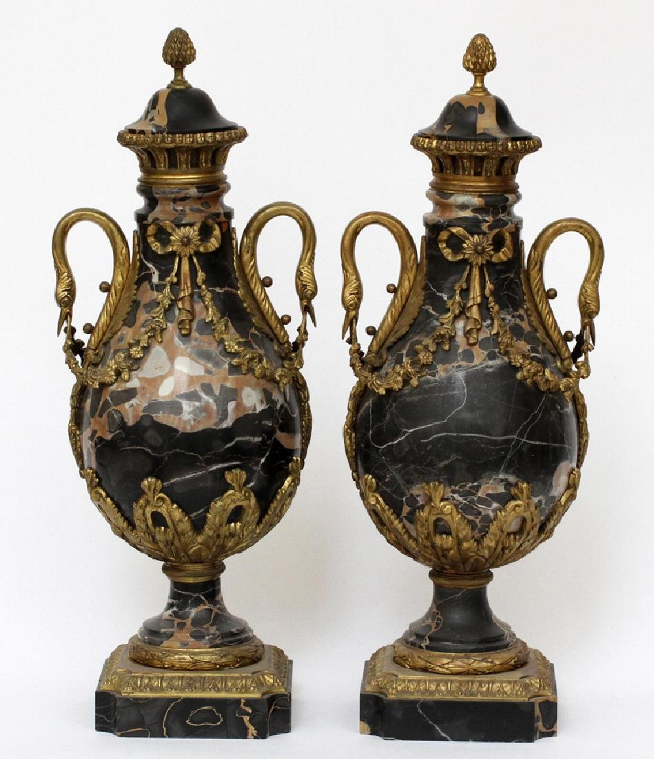 FRENCH BRONZE & MARBLE URNS, 19TH C, PAIR