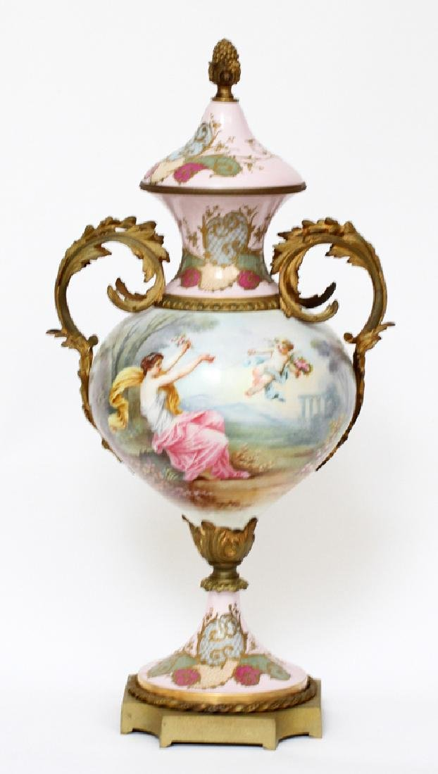 FRENCH HAND-PAINTED PORCELAIN & BRONZE URN, C1880