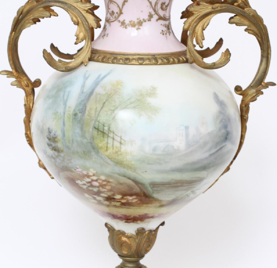FRENCH HAND-PAINTED PORCELAIN & BRONZE URN, C1880 - 3