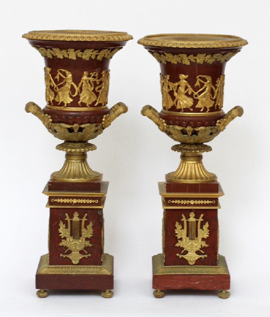 FRENCH REGENCY, BRONZE & MARBLE URNS, 19TH C, PAIR