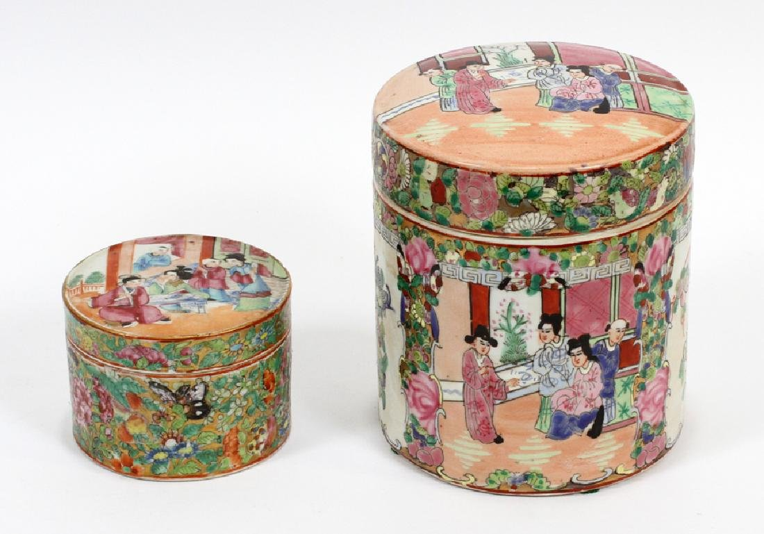 CHINESE ROSE MEDALLION PORCELAIN COVERED JARS