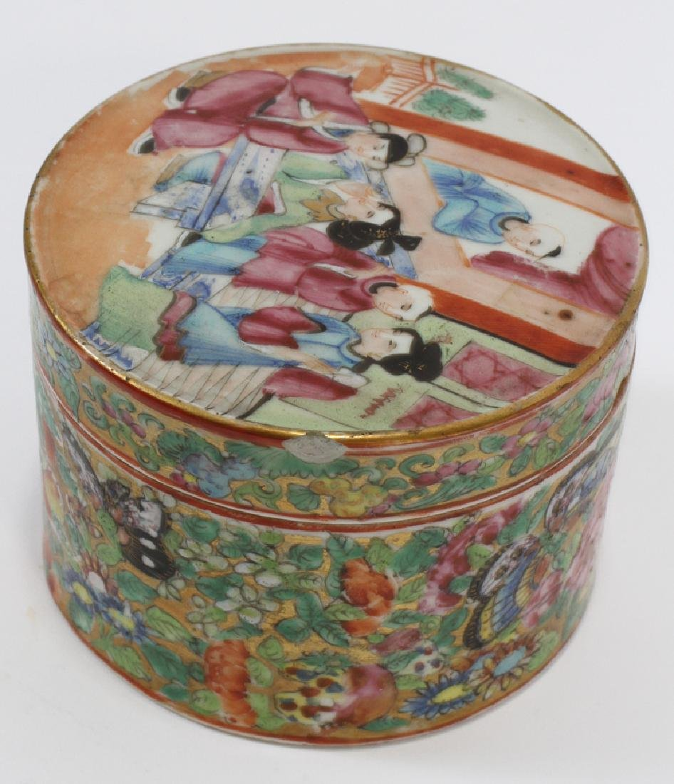 CHINESE ROSE MEDALLION PORCELAIN COVERED JARS - 5