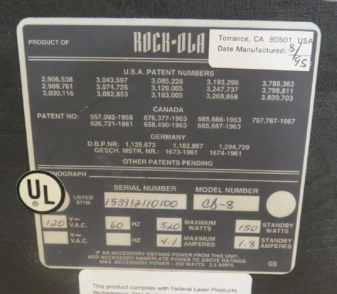 ROCK - OLA MODEL CD-8 'BUBBLER' JUKEBOX , 1995 - 7
