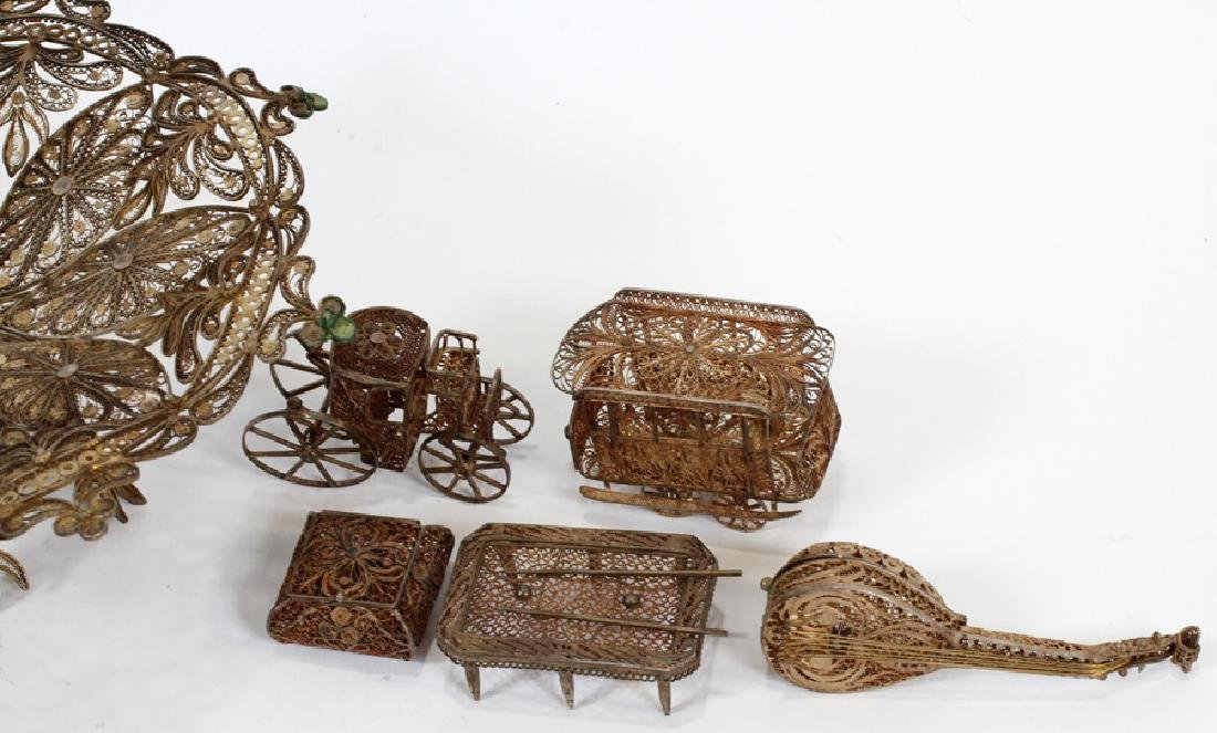 STERLING SILVER FILIGREE MINIATURES, 19TH C. - 2