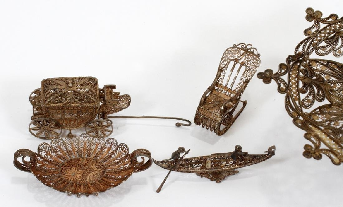 STERLING SILVER FILIGREE MINIATURES, 19TH C. - 3