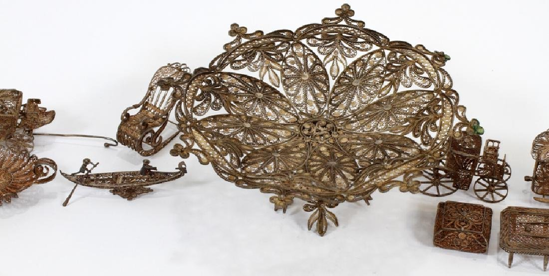 STERLING SILVER FILIGREE MINIATURES, 19TH C. - 4