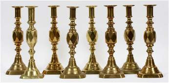 ENGLISH ANTIQUE BRASS CANDLESTICKS C1900 8 PCS