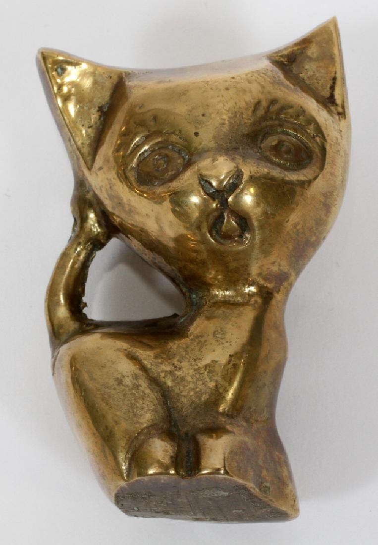 ANTIQUE BRASS BELLS BOX CRUMBER AND CAT SCULPTURE - 5