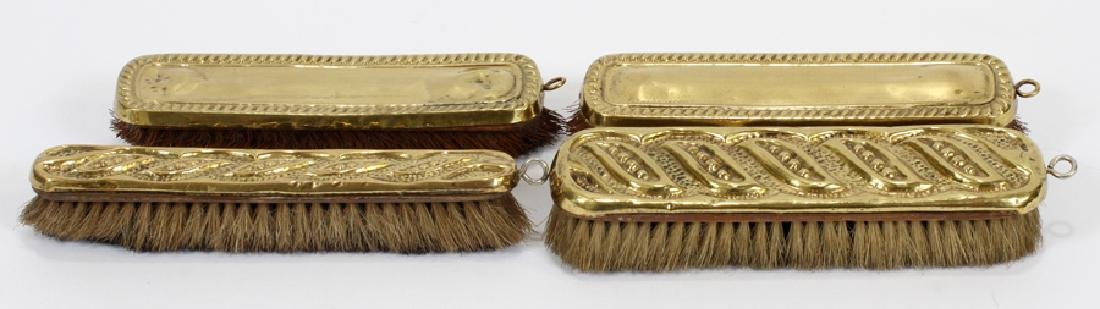 BRASS, WOOD AND HORSEHAIR, CLOTHING BRUSHES