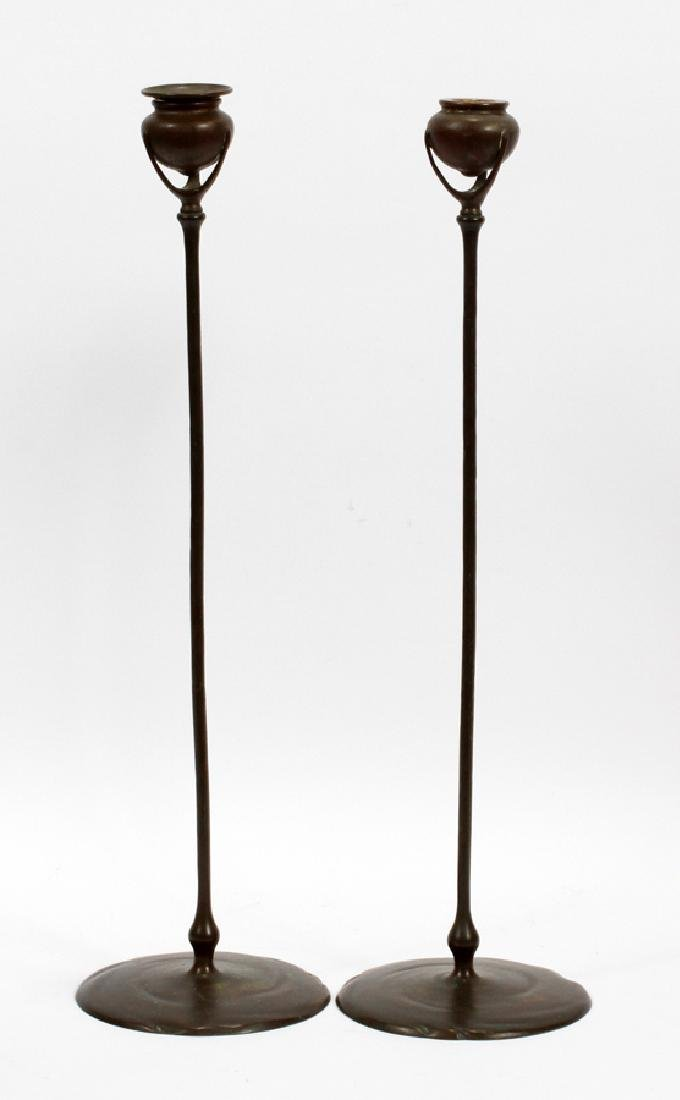 TIFFANY STUDIOS NEW YORK BRONZE CANDLESTICKS