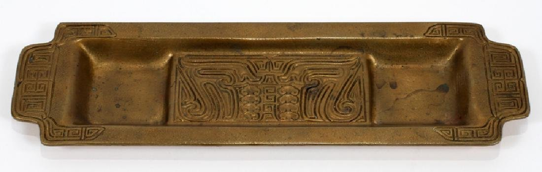TIFFANY STUDIOS 'CHINESE' GILDED BRONZE DESK TRAY