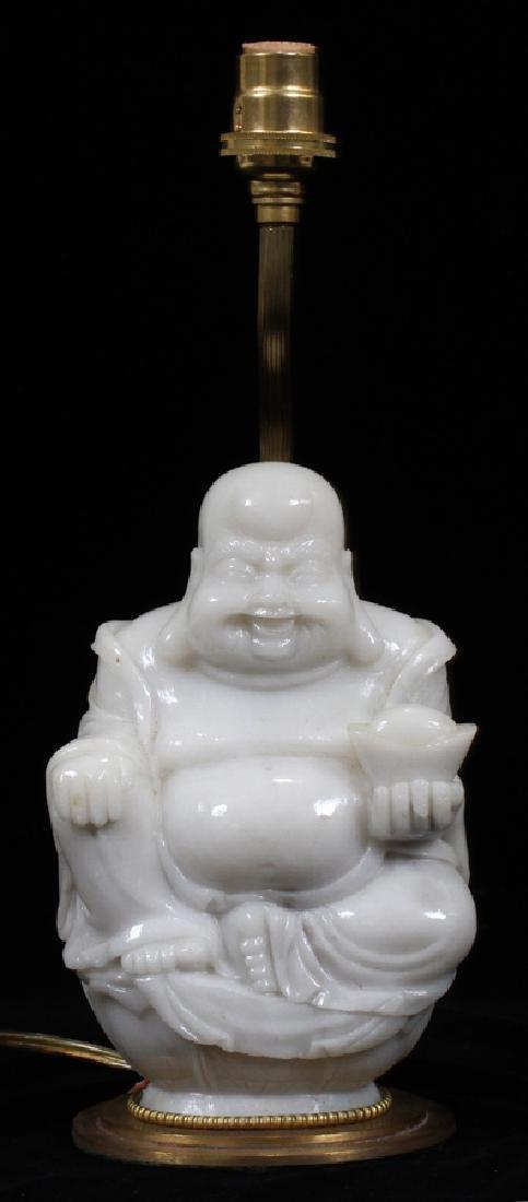 """CHINESE 'BUDDHA' CARVED JADE LAMP, H 7.5"""""""