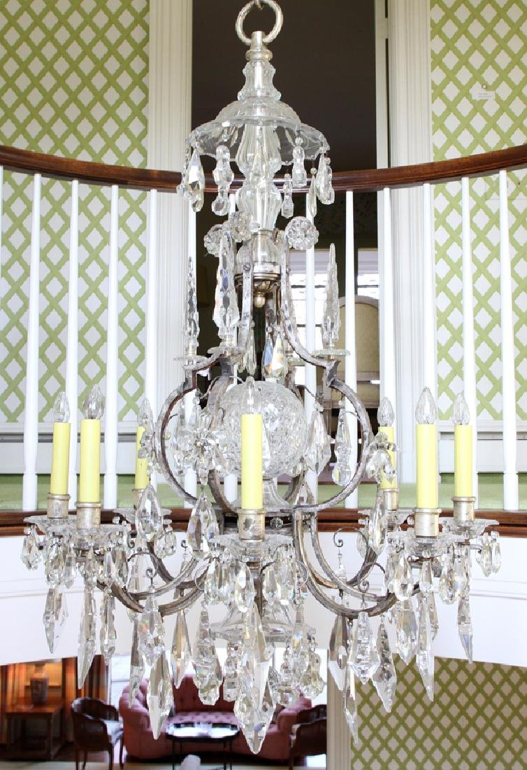 WATERFORD CRYSTAL AND IRON CHANDELIER