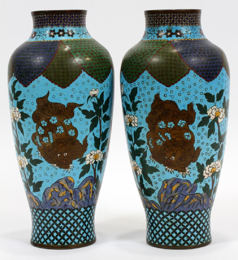 CHINESE CLOISONNE VASES, 19TH C., PAIR - 3