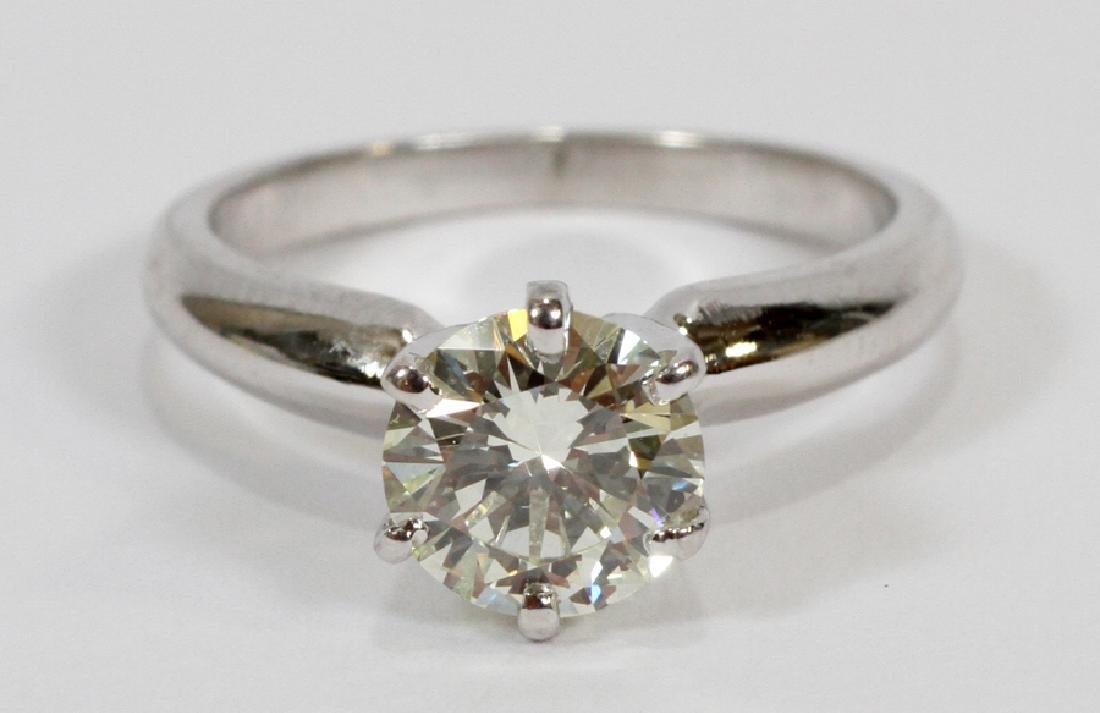 1.01CT DIAMOND PLATINUM RING, 4.4 GR, SIZE: 4