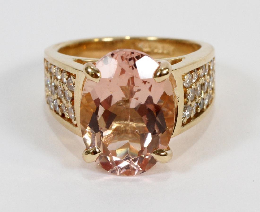 6.20CT NATURAL MORGANITE, 1.10CT DIAMOND RING