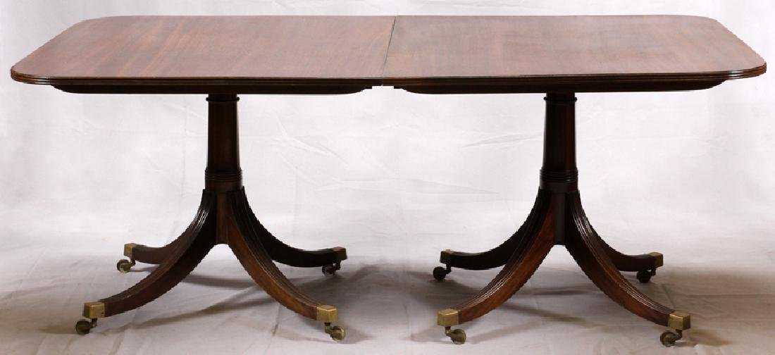 ENGLISH REGENCY STYLE 3 PEDESTAL  DINING TABLE