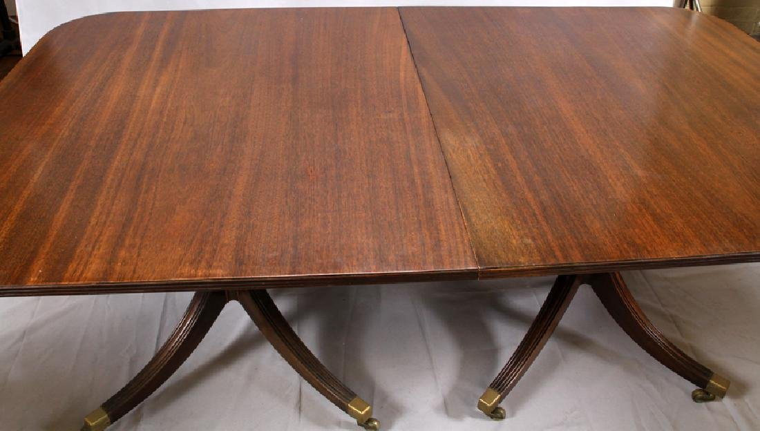ENGLISH REGENCY STYLE 3 PEDESTAL  DINING TABLE - 2