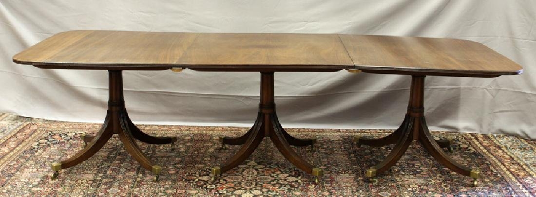 ENGLISH REGENCY STYLE 3 PEDESTAL  DINING TABLE - 6