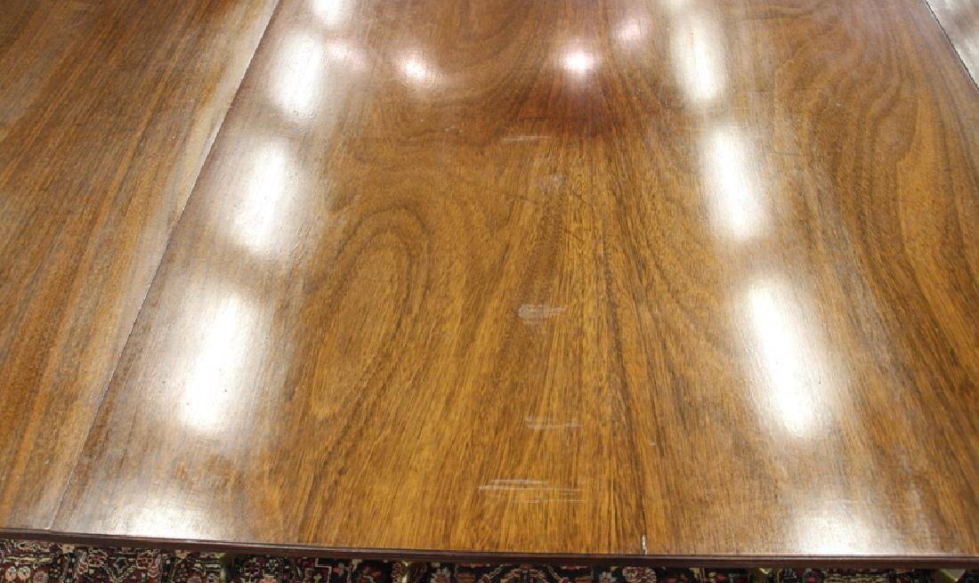 ENGLISH REGENCY STYLE 3 PEDESTAL  DINING TABLE - 8