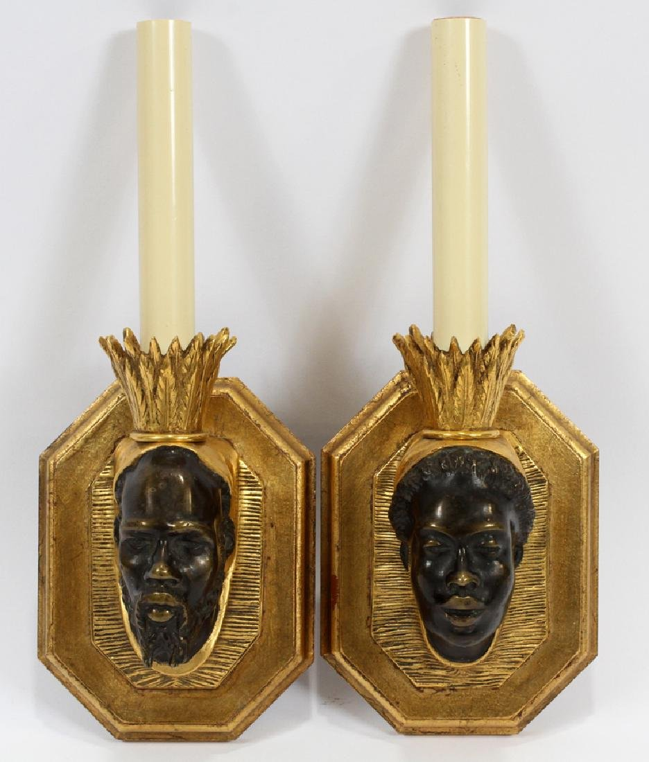 BRONZE & WOOD SCONCES, PAIR