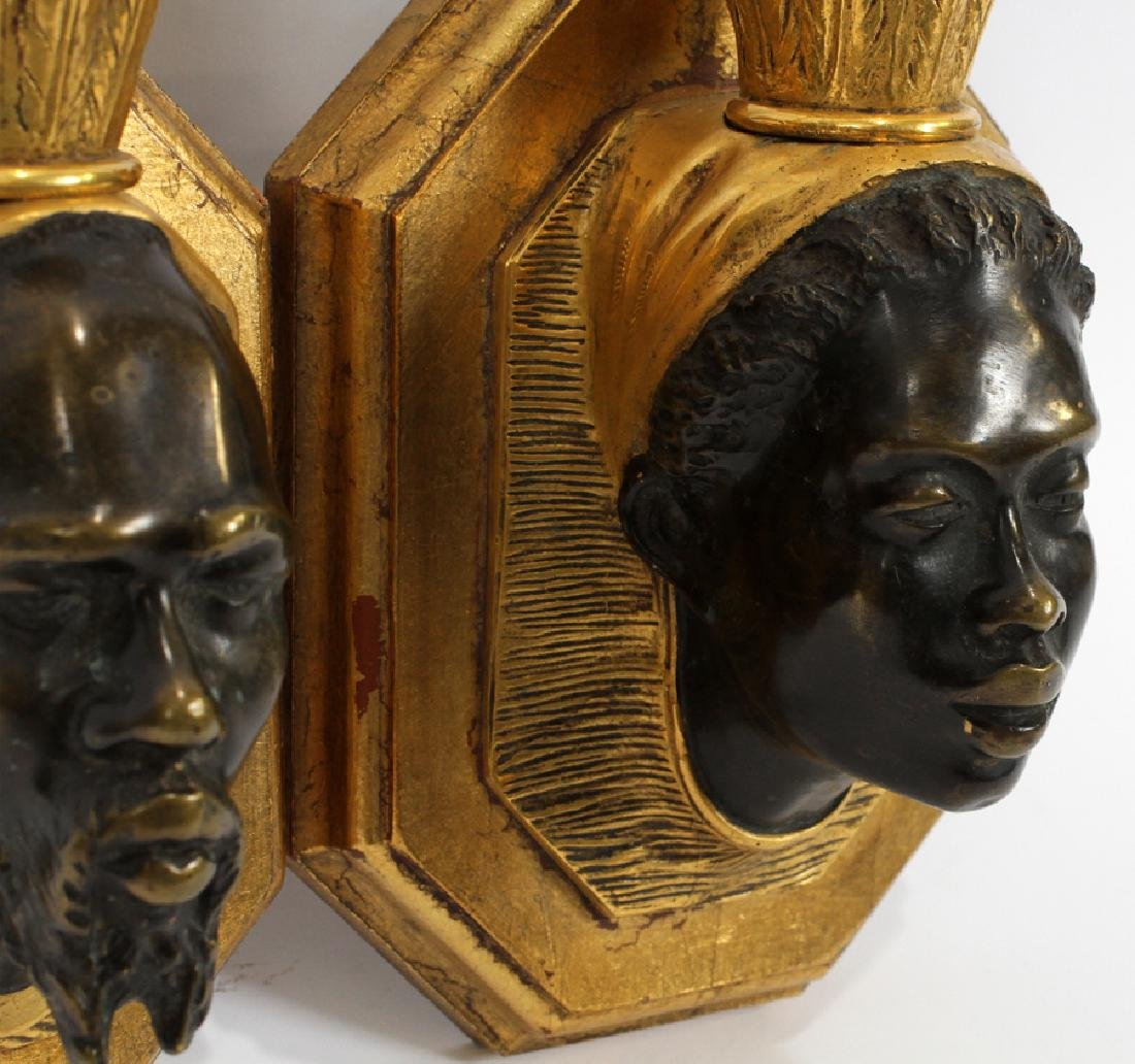 BRONZE & WOOD SCONCES, PAIR - 3