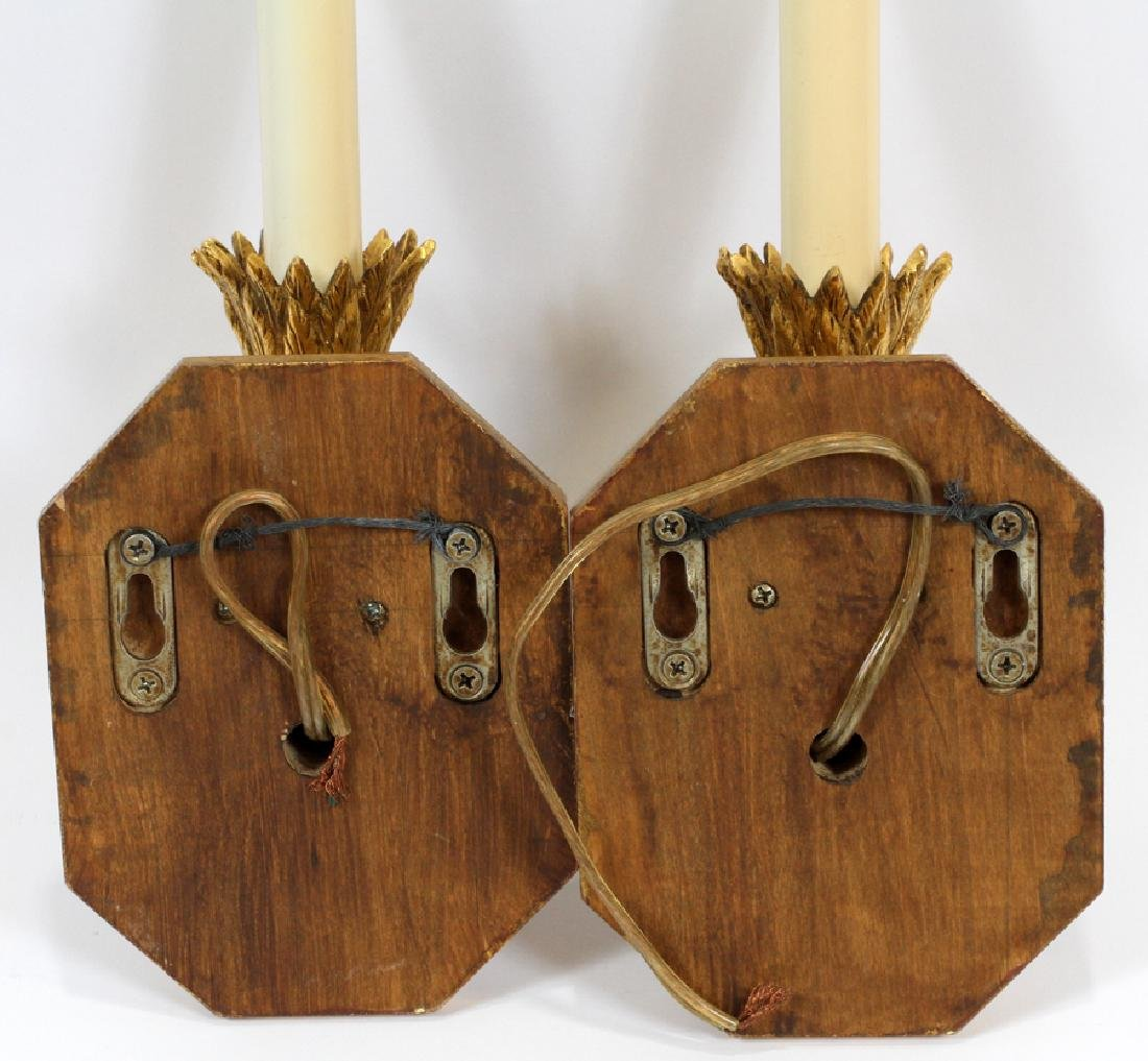 BRONZE & WOOD SCONCES, PAIR - 4