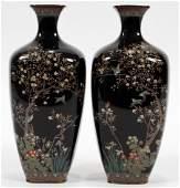JAPANESE CLOISONNE VASES, 19TH C., PAIR