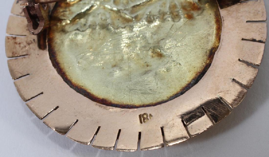 """18KT GOLD PERUVIAN BROOCH, DIA 1.5"""", 10 GR - 3"""