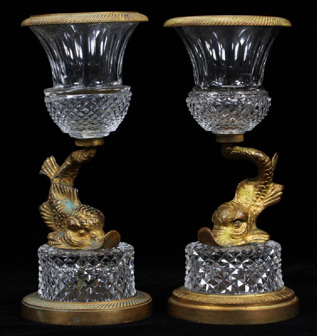 FRENCH CRYSTAL & ORMOLU CANDLESTICK HOLDERS, PAIR