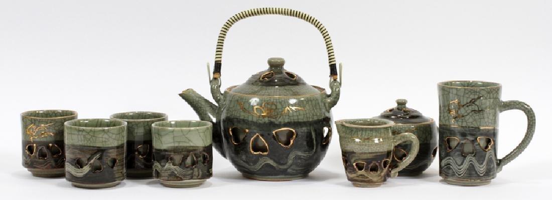 JAPANESE CONTEMPORARY CERAMIC TEA SET, NINE PIECES