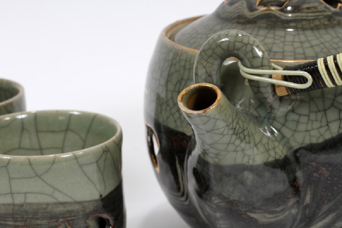 JAPANESE CONTEMPORARY CERAMIC TEA SET, NINE PIECES - 4