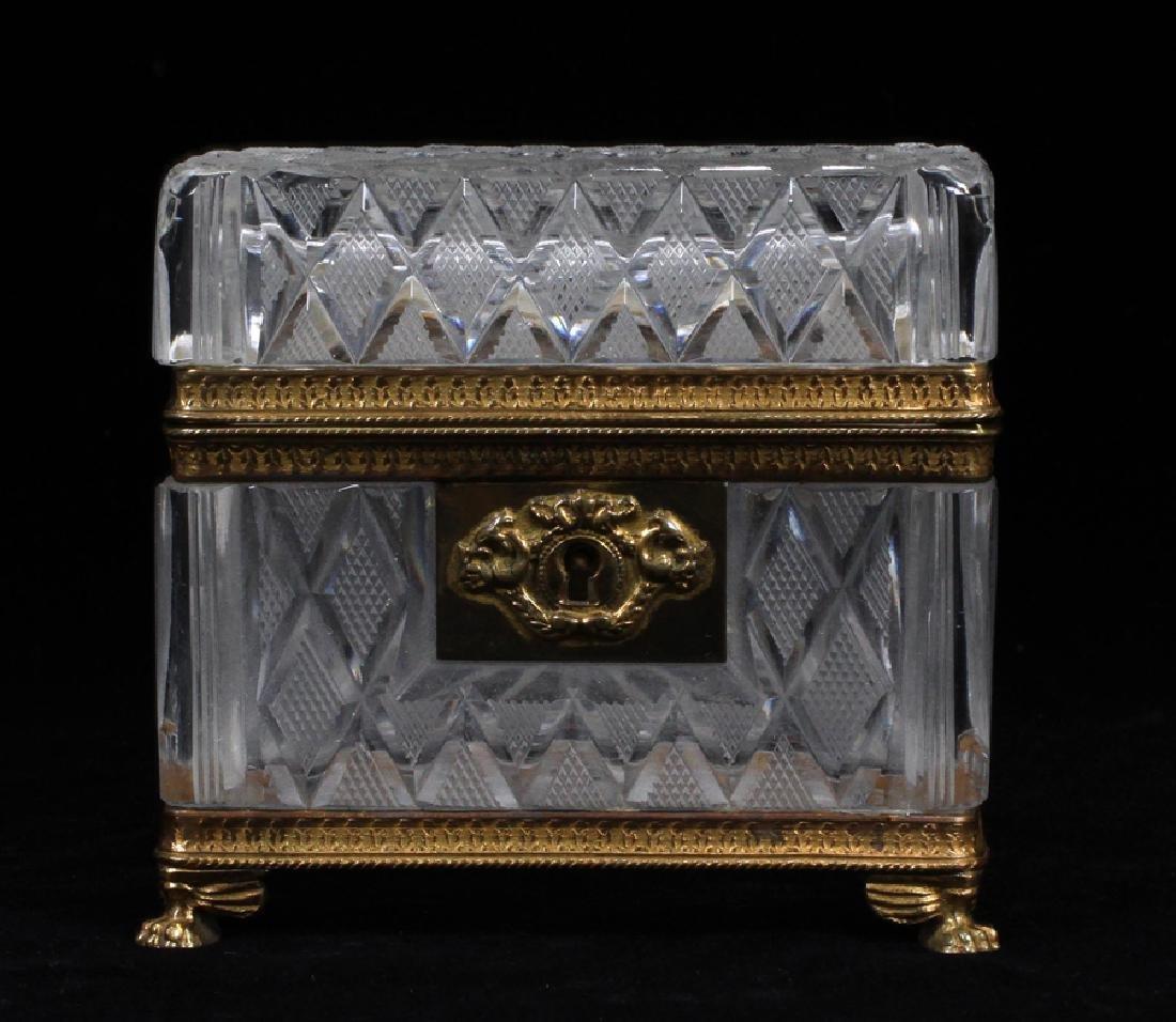 FRENCH CUT GLASS JEWEL CASKET, CA. 1900